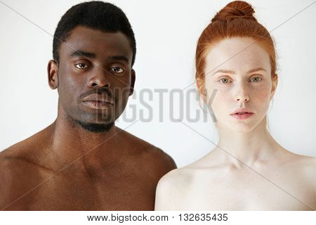 True Love Between Two Young People Of Different Races. Headshot Of Freckled Redhead Caucasian Woman