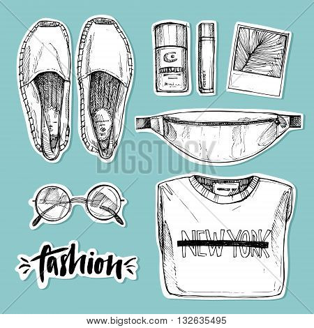 Hand drawn vector illustration - fashion accessories. Set of stylish ctother. Set of trendy look.