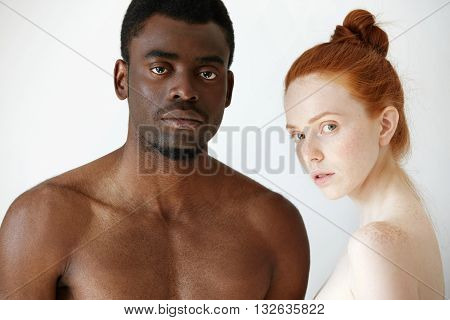Multi-ethnic Love And Relationships Concept: Young Redhead Caucasian Woman Wearing No Clothes Standi