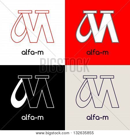 Logo design template with two united letters Alfa and M in four variations of black white red and grey colors. Vector illustration label.