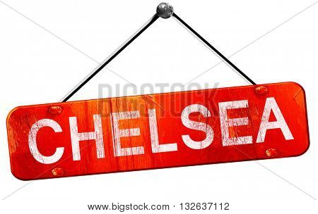 chelsea, 3D rendering, a red hanging sign