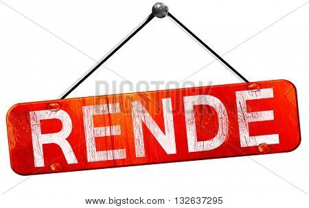 Rende, 3D rendering, a red hanging sign