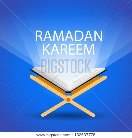Ramadan Kareem Open Koran Muslim Religion Holy Month Flat Vector Illustration