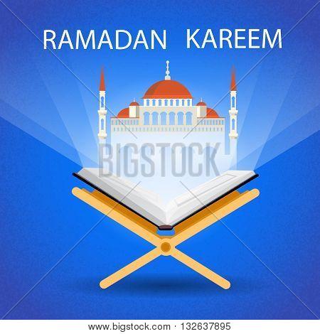 Ramadan Kareem Open Koran Mosque Muslim Religion Holy Month Flat Vector Illustration