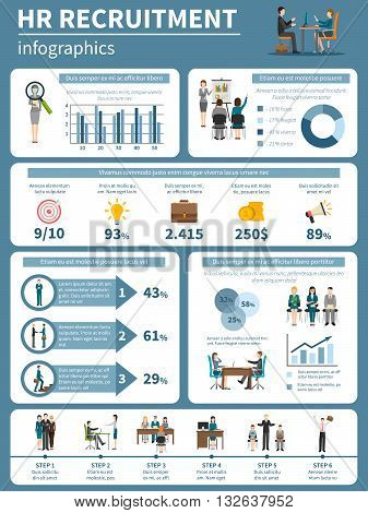 Recruitment HR people infographics presenting steps of hiring and searching for applicants flat vector illustration