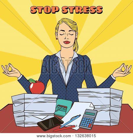 Businesswoman in Yoga Pose. Pop Art. Vector illustration