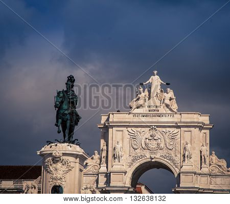 Statue of King Jose I on Praca do Comercio, Lisbon, Portugal,
