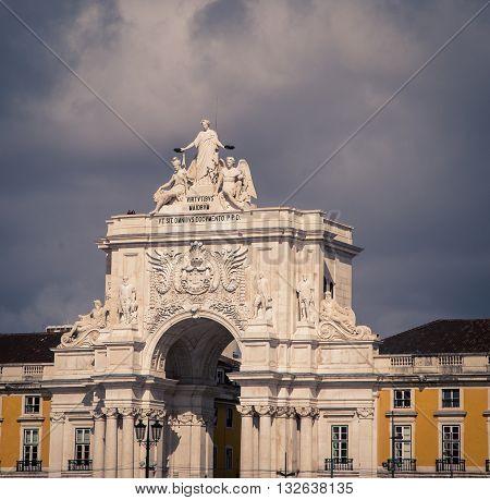 COMERCIO SQUARE in the city of Lisbon Portugal