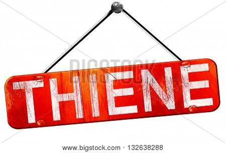 Thiene, 3D rendering, a red hanging sign