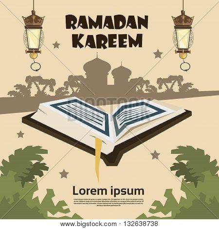 Open Koran Silhouette Mosque Ramadan Kareem Religion Holy Month Vector Illustration