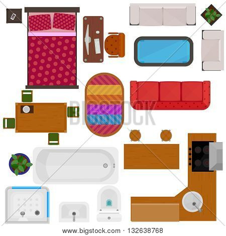 Top view of home furniture decorative icons with bed sofa chair desk table kitchen set bath sink toilet isolated vector illustration