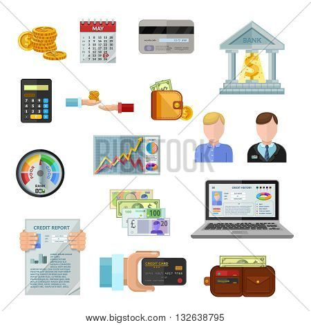 Credit rating flat color icons on white background with payment terminal credit history of borrower cash credit score gauge  isolated vector illustration