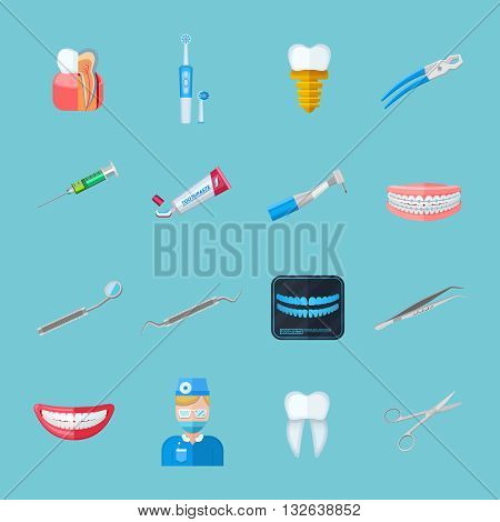 Dentist isolated flat icons set of dental tweezers syringe forceps dentures toothbrush tube of toothpaste vector illustration