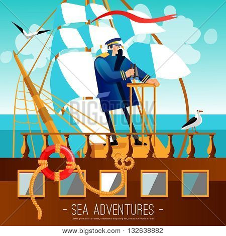 Sea Adventures Background. Nautical Adventures Vector Illustration. Tall Ship Captain Design. Sailing Cartoon Decorative Symbols.