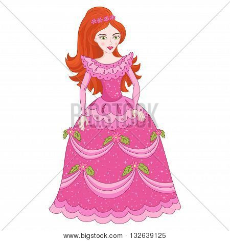 Illustration of beautiful red-haired princess, cute princess in shine elegant pink dress with spangles, vector illustration