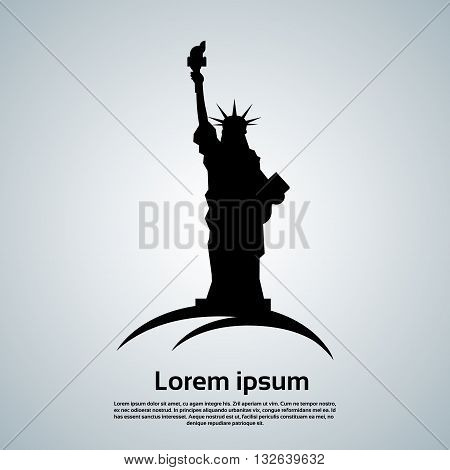 Liberty Statue Silhouette United States Symbol Vector Illustration