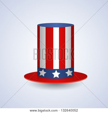 Cylinder Hat American United States Flag Symbol Flat Vector Illustration