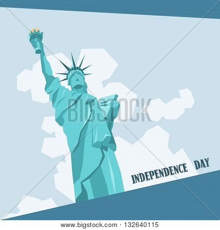 Statue of Liberty Happy Independence Day United States American Holiday Banner Vector Illustration