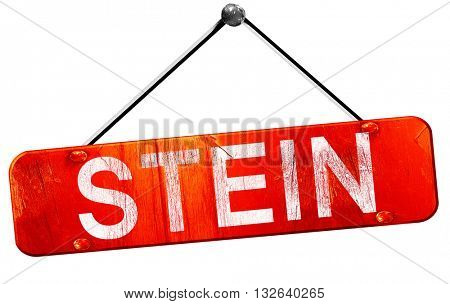 Stein, 3D rendering, a red hanging sign