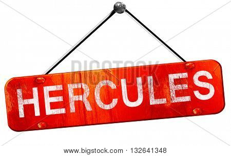 hercules, 3D rendering, a red hanging sign