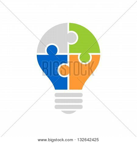 Jigsaw puzzle light bulb icon vector illustration isolated on white backgorund.