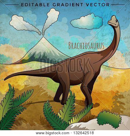 Brachiosaurus. Vector illustration of a dinosaur in its habitat.