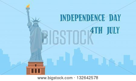 Statue of Liberty Silhouette United States Independence Day New York View Vector Illustration