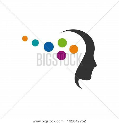 Beautifull stylized abstract women with colorful hair silhouette vector illustration isolated on white backgorund.
