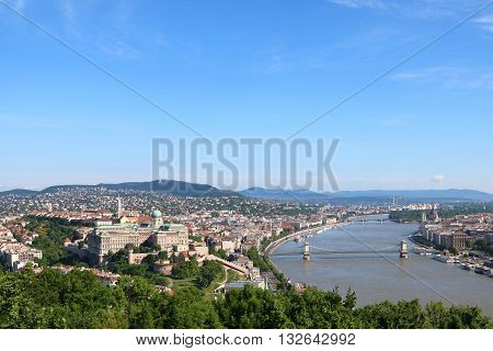 Aerial view of Budapest across Danube River with Chain Bridge and Margaret Bridge and Hungarian Parliament Building in sight