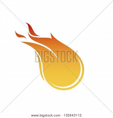 Stylized fireball icon vector illustration isolated on white backgorund.