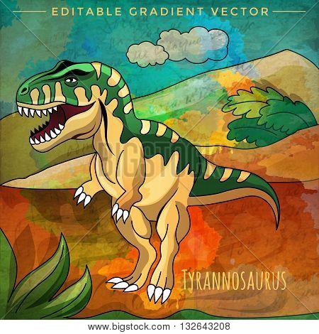 Tyrannosaurus. Vector illustration of a dinosaur in its habitat.