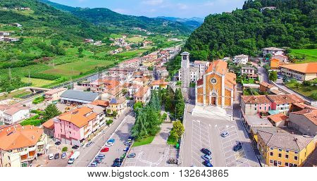 Aerial view of the center of San Giovanni Ilarione and St. Catherine's Church in Villa (sec.XX) Verona Italy.