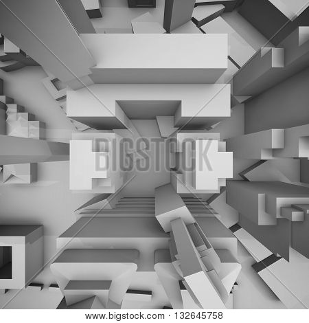 Abstract Schematic Cityscape, Top View 3D