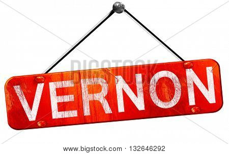 vernon, 3D rendering, a red hanging sign
