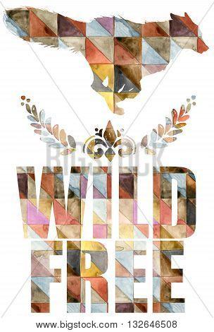 Fox illustration. Fox T-shirt design. Forest Fox. Fox silhouette. Watercolor Fox graphic illustration. Fox T-shirt design. Wild. Free.