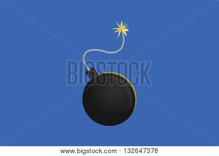 black bomb single isolated with blue background vector graphic illustration