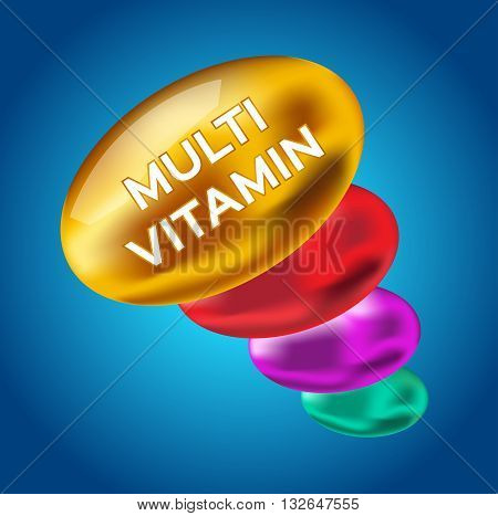 multi vitamin for good health . color vitamin vector , logo and icon