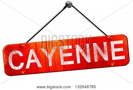 cayenne, 3D rendering, a red hanging sign