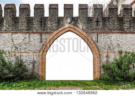 Arched entrance of a medieval castle suitable as a frame or border.