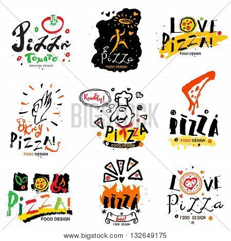 Pizza illustration and logo. Symbols and design elements for pizzeria