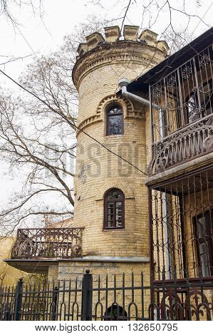 The corner tower with balcony. Architecture and attractions of the city of Kislovodsk.