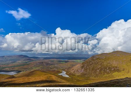 Valleys And Mountains In County Kerry On A Summer Day