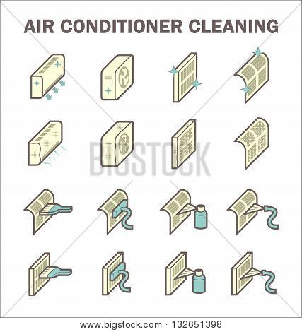 Air conditioner cleaning vector icon sets design on white background.