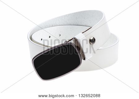 Leather white belt with metal black buckle on white background