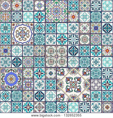 Vector seamless texture. Beautiful mega patchwork pattern for design and fashion with decorative elements. Portuguese tiles Azulejo Talavera Moroccan ornaments in blue and orange colors