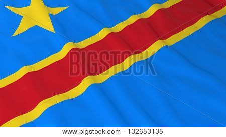 Congolese Flag HD Background - Flag of the Democratic Republic of the Congo 3D Illustration