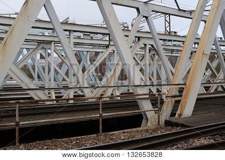 steel construction of the railway bridge horizontal