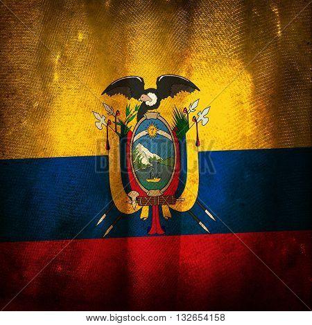 The old vintage grunge flag of Ecuador