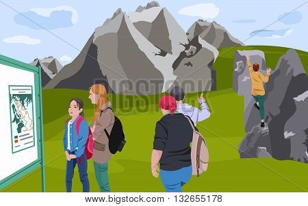 Summer Holidays in the Mountains. Vector illustration