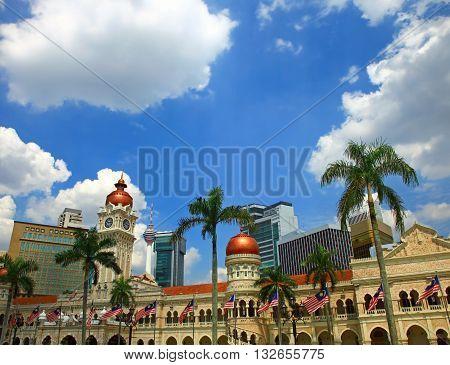 View of the Kuala Lumpur, Malaysia. Cloudy Sky.